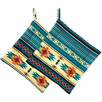Set of 2 Teal Black Orange Southwest Square Pot Holders Hot Pads Trivets 8.5 inches x 8.5 inches