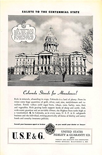 Print Ad 1946 United States Fidelity   Guaranty Colorado Stands For Abundance