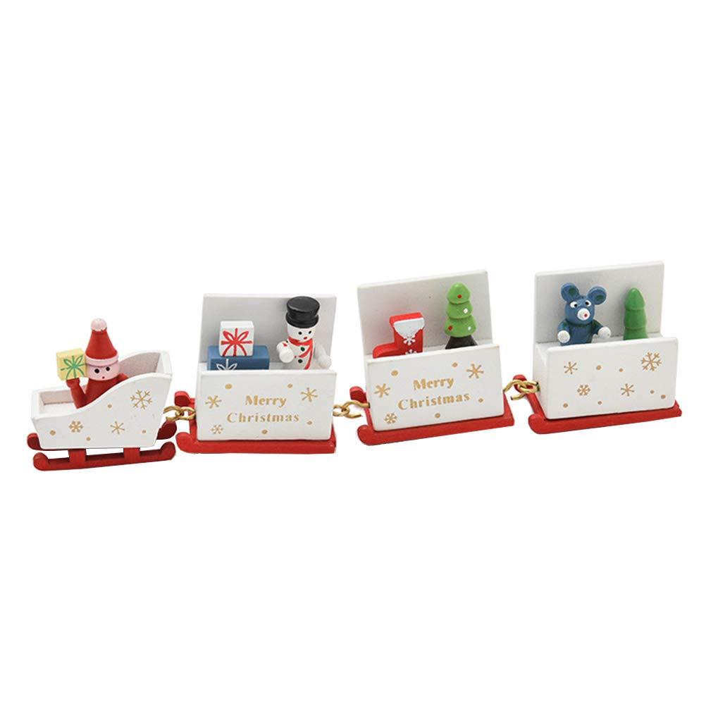 BESTOYARD Christmas Train Set Toy Wooden Santa Claus Snowman Christmas Tree Ornament Decoration White