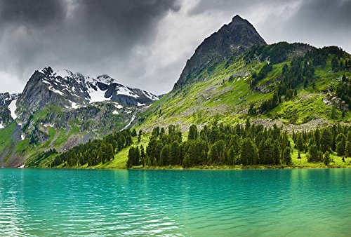 Green Mountains And Lakes Art Print Canvas Poster,Home Wall