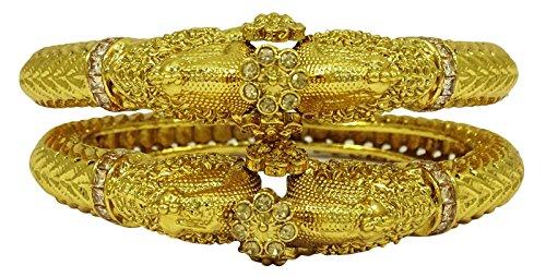 Matra Goldtone Peacock Design CZ Stone Kada Bracelet Bangle Indian Party Women Jewelry