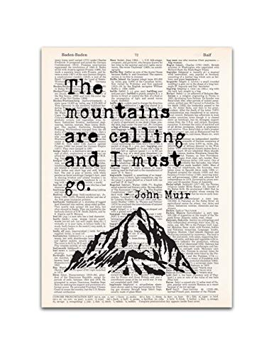 Mountains are Calling, John Muir Nature Quote, Dictionary Page Art Print, 8x11 inches, Unframed