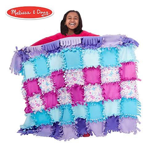 No Sew Quilt Kits - Melissa & Doug Created by Me - Butterfly Fleece Quilt (Sewing & Weaving, Material, 48 Pieces, 5' W x 4' L)