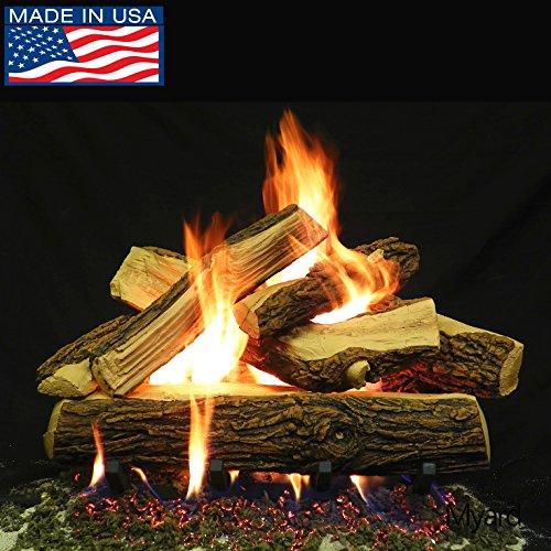 Oak Vented Massive Log Gas - PayandPack Myard DELUXE 24