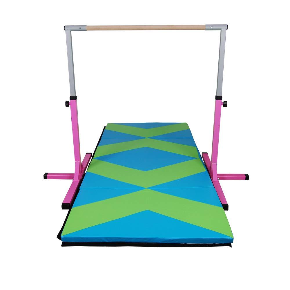 Polar Aurora ジム体操トレーニングバー 高さ調整可能 水平バー 頑丈 子供用体操 B07K833ZDX Pink&Green-Blue Mat