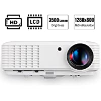 3500 Lumen HD 1080P LCD Projector Home Theater with HDMI VGA USB Audio Built-in Speakers Multimedia LED Video Projectors Max 200 Widescreen for Games, Movies, Karaoke, Drawing 1280x800 Resolution