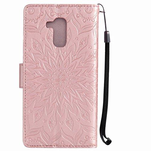 Yiizy Huawei Honor 5c Custodia Cover, Sole Petali Design Sottile Flip Portafoglio PU Pelle Cuoio Copertura Shell Case Slot Schede Cavalletto Stile Libro Bumper Protettivo Borsa (delloro della Rosa)