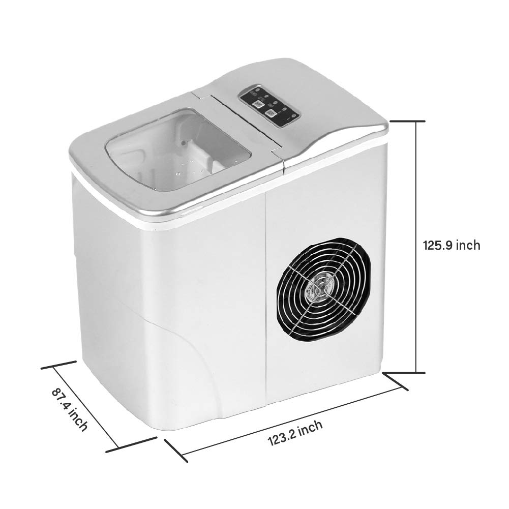 24 lb per Day Perfectly for Campers Home Kitchen Bar KTV Decors-A Portable Ice Maker Machine Counter top Electronic Ice Maker w//ice Basket and Scoop Silver