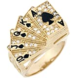 10k Real Solid Gold CZ Royal Flush Poker Card Enamel Lucky Mens Ring