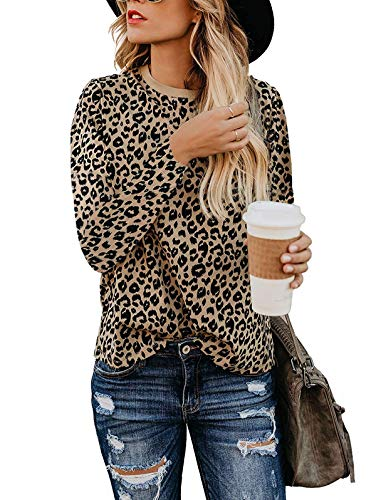 SHIBEVER Women's T Shirts Leopard Print Long Sleeve Tops Casual Cute Round Neck Side Twist Knotted Blouses Tunics Outfits Coffee M
