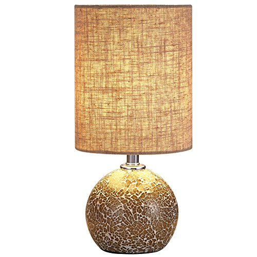 Boderrio Bedside Nightstand Table Lamp - Glass Mosaic Desk Lamp for Bedroom, Living Room, Office, Hotel, with Linen Drum Shade, 12.5