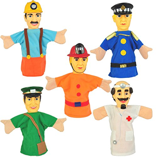 Set of 5 Community Workers Hand Puppets 10