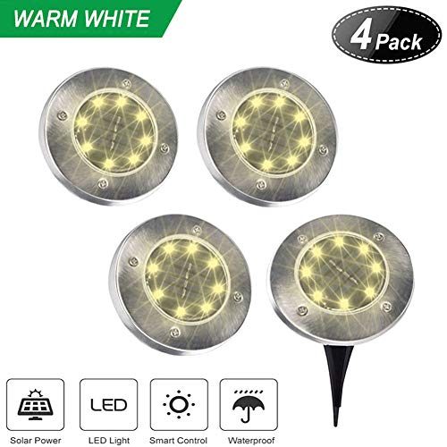Gym Heroes Solar Ground Lights,8 LED Disk Lights Solar Powered Waterproof Garden Pathway Outdoor in-Ground Lights with Light Sensor,4 Pack (Warm White) by GYM HEROES