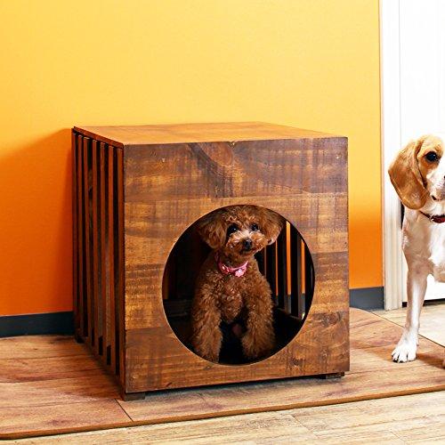 犬 ハウス サークル 室内 ペットケージ ドギーハウス ペットハウス 天然木 木製 おしゃれ 小型犬用 モダン イクス IKS ブラウン B07DHGXKG9