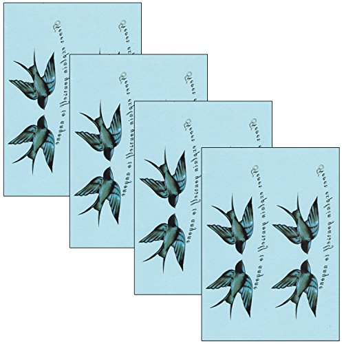 Temporary Tattoo 3 Sheets - DaLin 4 Sheets Sexy Floral Temporary Tattoos for Women Flowers Collection (The swallow)
