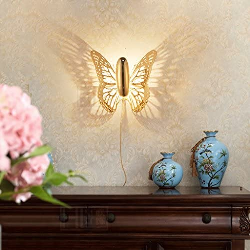 Wall Lamp Butterfly Northern Europe Child Shadow Led Bedside Stairs Bedroom Living Room Restaurant Iron Art Creative A+++