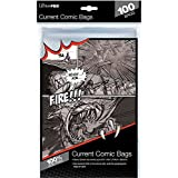 "Ultra Pro Current Size 6-7/8 x 10-1/2"" Comic Bags (100 Count Pack), Small, Clear"