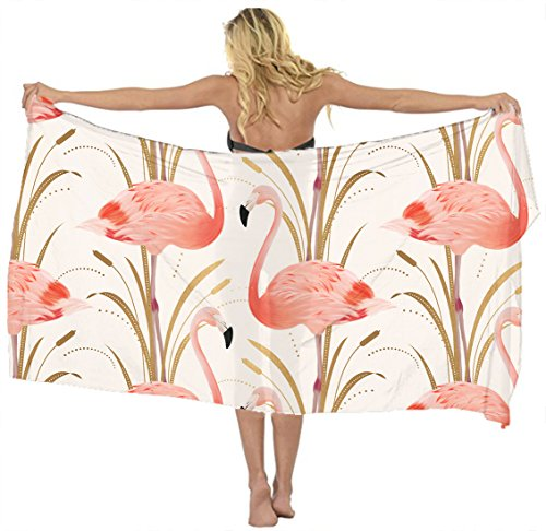 Pink Clipart - AMERICAN TANG scarf cover up Pink Flamingo Clipart Style Beach Sarong Wrap Scarf