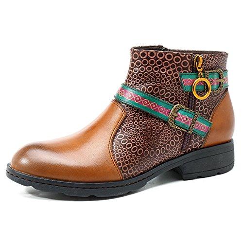 Socofy Dames Korte Schacht Laarzen, Bloemen Laarzen Klassieke Enkellaars Korte Laarzen Met De Hand Gemaakte Anit-slip Comfortabele Leren Schoenen Geel