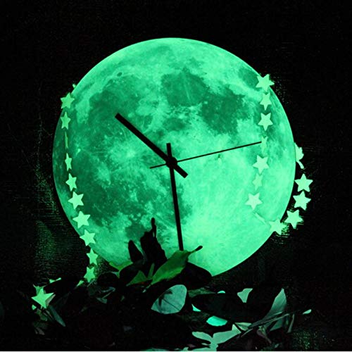 Wall Clocks - 3d Glowing Moon Luminous Waterproof Diy Wall Clocks Fluorescent Kids Living Room Clock Halloween - Pink Neon Time Kids Patio Decorative Automatic Controlled On Design ()