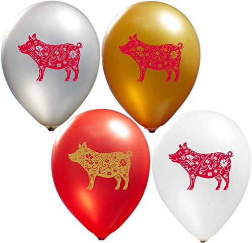 2019 Chinese Year Balloons - Red and Gold Ink | Colorful Latex Balloons (20-Count) Happy Birthday Party Or Event Use | Fill with Air Or Helium | Kid-Friendly by Party Zone