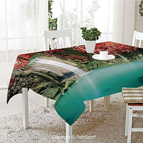 AmaUncle Party Decorations Tablecloth Single Waterfall in Corner of The Deep Forest with Fair Fall Oak Trees Table Protectors for Family Dinners (W55 -