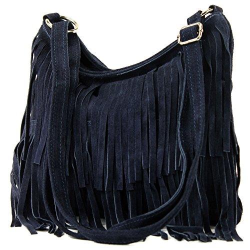 Ital. Ital. Bolso De Cuero T125 Frans Bolso Del Bolso De Las Señoras Bolsa De Gamuza Dunkelblau Frans T125 Leather Bag Bag Ladies Handbag Suede Bag Dunkelblau