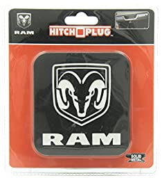 Dodge Ram All Black Logo Brushed Aluminum Brackets Hitch Plug