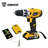 Refurbished Drill Press Best Deals - DEKO 18V DC Mobile Power Supply Lithium Battery Cordless Drill Power Tools Mini Drill Electric Drill
