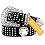 Black Leather Belt in a Crocodile Pattern, Decorated in Clear Crystals, Size S/M