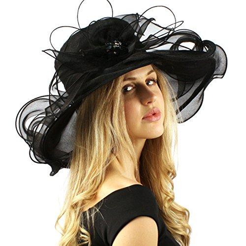 Bella Cielo Kentucky Derby Floppy Ruffle Jewel Organza Dress Bride Hat