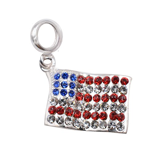 Usa Pendant Charm Flag (USA Flag Charm with Australian Crystal 925 Sterling Silver Symbol of American Charm Country Charm for DIY Charms Bracelet)