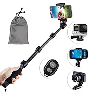 Kootek® Professional Adjustable Handheld Self Portrait Selfie Stick Pole Monopod with Wireless Bluetooth Camera Remote Control Shutter Release and Tripod Mount for Phone Gopro Hero Camera