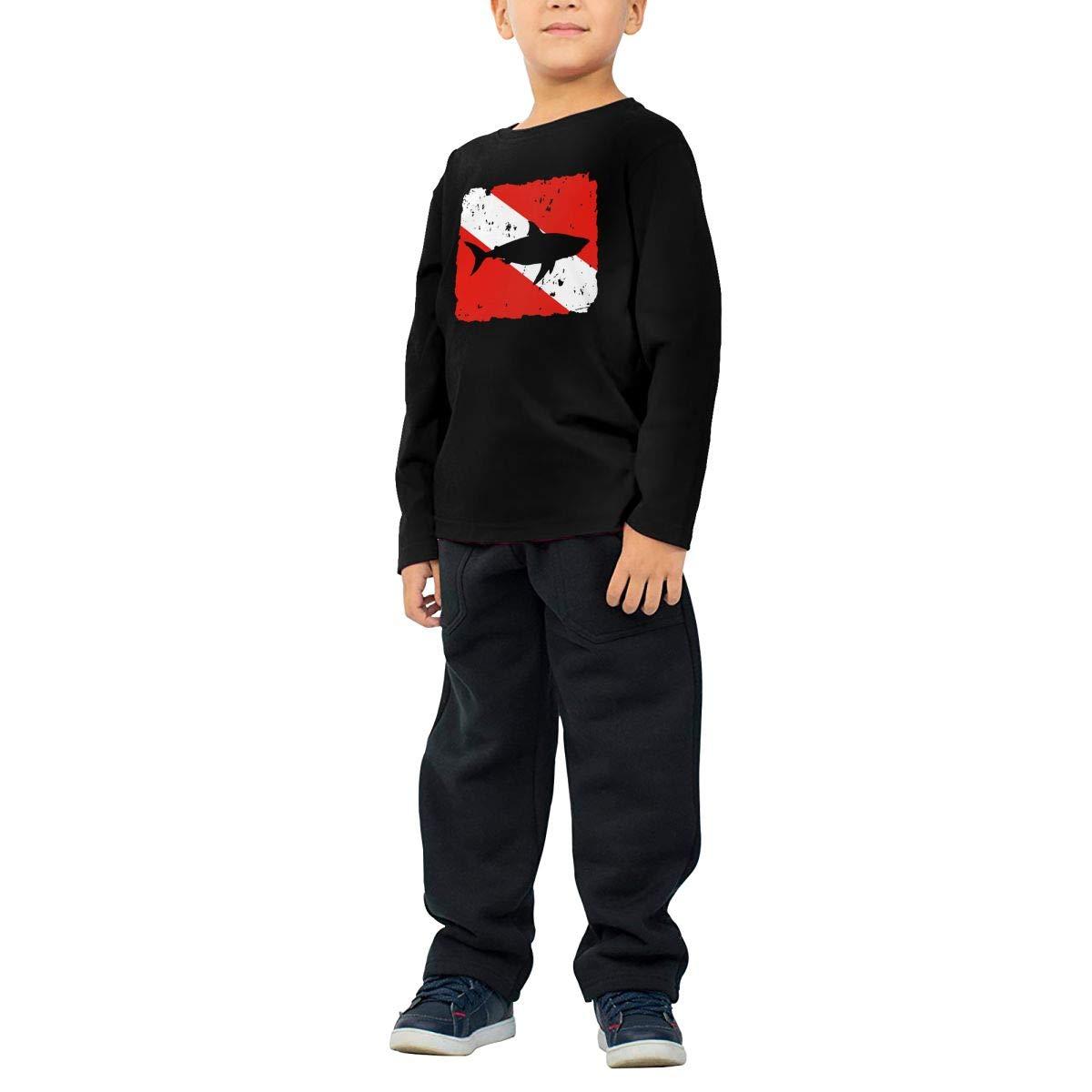 Baby Boys Kids Vintage Shark Scuba Dive Flag Printed Long Sleeve 100/% Cotton Infants T Shirts