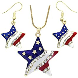 Soulbreezecollection USA American Flag Stars Patriotic 4th of July Independence Day Pendant Necklace & Dangle Earrings Set