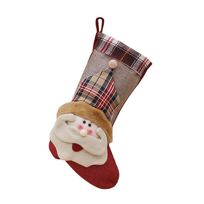 Decoración de la chimenea Calcetines de navidad Medias de navidad calcetines de punto Adornos de navidad Decoraciones para árboles de Navidad Stock Hangings ...