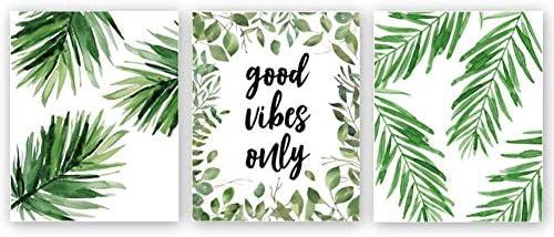 Good Vibes Only Quote Inspirational Art Print Natural Plant Green Leaf Canvas Art PaintingSet Of 3(8\u2019\u2019x10\u2019\u2019)Yoga Studio Motivational Home Wall Decor