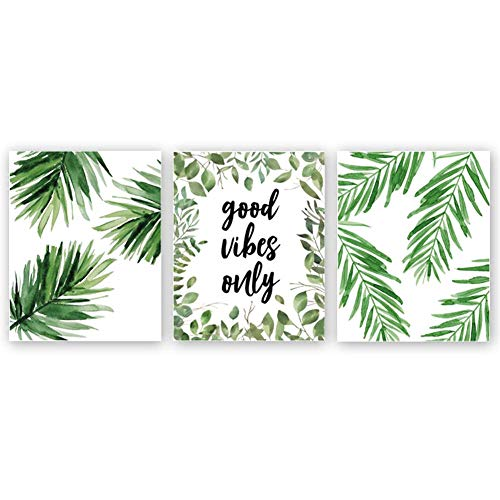Tropical Wall Decor - Good Vibes Only Quote Inspirational Art Print, Natural Plant Green Leaf Canvas Art Painting,Set of 3(8''x10''),Yoga Studio Motivational Home Wall Decor