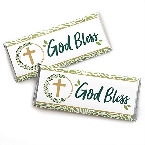 - Elegant Cross - Candy Bar Wrapper Religious Party Favors - Set of 24