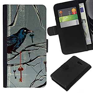 KLONGSHOP // Tirón de la caja Cartera de cuero con ranuras para tarjetas - Metáfora Clave profundo Gris Gris - Sony Xperia M2 //
