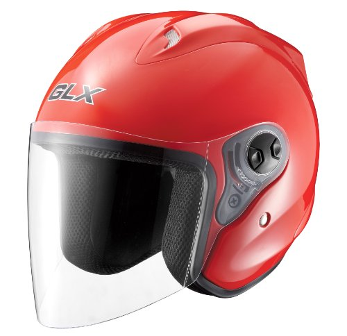 GLX Open Face Motorcycle Helmet (Red, XX-Large)