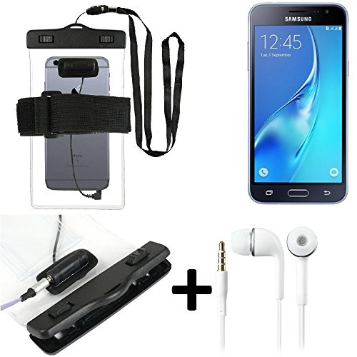 Estuche estanco al agua con entrada de auriculares para Samsung Galaxy J3 Duos (2016) + auricular incluido, transparente | Trotar bolsa de playa al aire libre caja brazalete del teléfono caso de cásca