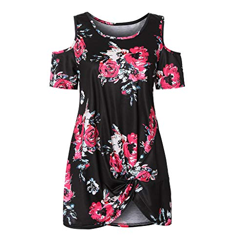 HJuyYuah Women Summer Cold Shoulder Tie Knot Floral Print Tops Casual Shirts Blouse Hot Pink