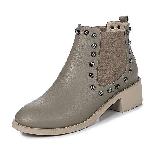 Nio Sju Äkta Läder Kvinna Rund Tå Låg Klack Slip På Handgjort Sval Avslappnad Boots Khaki