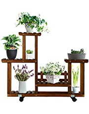 Wood Plant Stand High Low Shelves Flower Rack Display for Indoor Outdoor