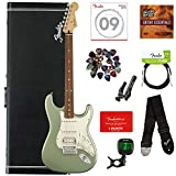Fender Player Stratocaster HSS, Pau Ferro - Sage Green Metallic Bundle with Hard Case, Cable, Tuner, Strap, Strings, Picks, Capo, Fender Play Online Lessons, and Austin Bazaar Instructional DVD