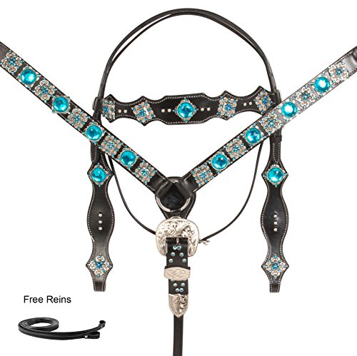 PRO SERIES SILVER TURQUOISE DIAMOND WESTERN BARREL RACING RODEO SHOW PARADE BLACK LEATHER HORSE TACK SET BRIDLE BREASTPLATE REINS (Horse)