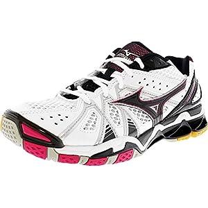 Mizuno Women's Wave Tornado 9 WOMS WH-PK Volleyball Shoe, White/Pink, 9.5 D US