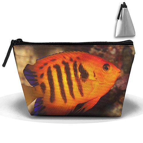 (Dwarf Saltwater Angelfish Makeup Bag Large Trapezoidal Storage Travel Bag Wash Cosmetic Pouch Pencil Holder Zipper Waterproof)
