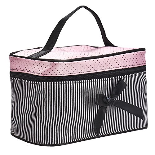 Ecosin 1PC Square Bow Travel Makeup Bag Holder Handbag,Makeup Artists Bags for Women & Cosmetic Organizers Storage Bag (B) by Ecosin _Beauty (Image #1)